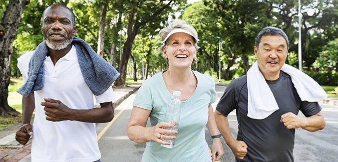 three joggers